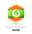 number six logo in the colorful hexagonal vector image vector image