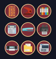 office flat icons set business design isolated on vector image