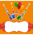 Orange background with striped party hats vector image
