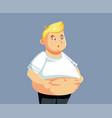 overweight man grabbing abdominal fat vector image