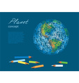 pencils earth vector image vector image