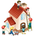 People building and painting the house vector image vector image