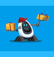 robot assistance carrying cardboard box package c vector image vector image