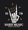 rock music print with skeleton hand and lightning vector image vector image