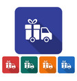 rounded square icon of delivery car flat style vector image vector image
