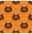 Seamless background pots with gold vector image
