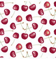 seamless pattern with beauty cherries on white vector image