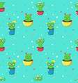 seamless pattern with cute cartoon cactuses vector image vector image