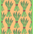 seamless pattern with sketch style asparagus bunch vector image vector image