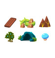 set of cartoon landscape elements for vector image vector image