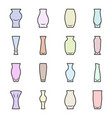 set of colored icons - vases for flowers on a vector image vector image