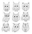 set of isolated funny owls black and white vector image vector image