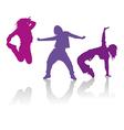 silhouettes girls dancing hip-hop dance vector image vector image