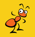stylized red ant on a yellow background vector image vector image