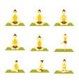 various yoga meditation pose seated set vector image vector image