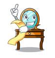 with menu dressing table mascot cartoon vector image