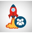 rocket launch start up business group person vector image
