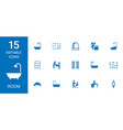 15 room icons vector image vector image