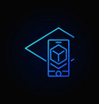 augmented reality in smartphone blue icon vector image vector image