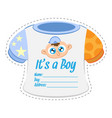 baby clothes boy shower invitation card template vector image