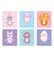 baby shower cute animals for card and invitation vector image vector image