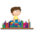 boy sits on pile of book vector image