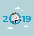 businessman jump throw zero in number 2019 vector image vector image