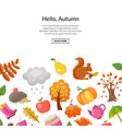 cartoon autumn elements and leaves vector image vector image