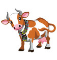 cartoon brown cow vector image vector image