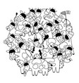circle shape pattern with cute cows for coloring vector image vector image