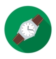 Classic wrist watch icon in flat style isolated on vector image