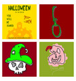 collection of halloween flat celebration cards vector image vector image