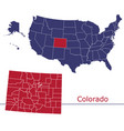 colorado counties with usa map vector image