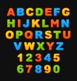 colorful cute alphabets abc font on black vector image
