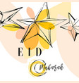 colorful greeting card eid mubarak with round vector image vector image