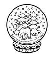 coloring book for children snowball with deer vector image vector image