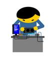 computer repair guy is repairing pc mending and vector image