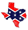 confederate flag over texas map vector image vector image