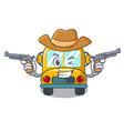 cowboy school bus character cartoon vector image