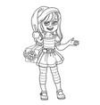 cute girl in elf santas assistant costume vector image vector image