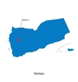 Detailed map of Yemen and capital city Sanaa vector image