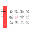 different dinosaurs - line design style icons set vector image