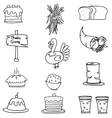 Doodle of element thanksgiving set vector image vector image