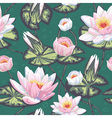 Elegant floral seamless pattern with water lily vector image vector image