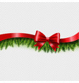 fir tree border with red bow and ribbon vector image vector image