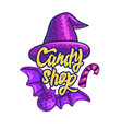 halloween style of candy shop label vector image