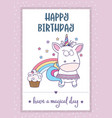 happy birthday card with lovely bagirl unicorn vector image vector image