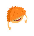happy cartoon fluffy monster character with funny vector image vector image