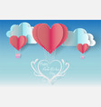 happy valentines day with balloon heart blue vector image