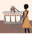 ice cream shop and woman with shopping cart retro vector image